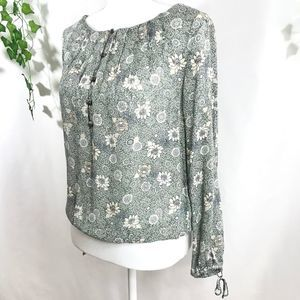 LUCKY BRAND Green & Tan Floral Boho Peasant Blouse